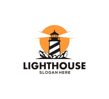 lighthouse stand in the coral rock ocean at the night vector icon logo design template