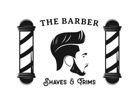 uomo barbiere parrucchiere banner logo distintivo modello di disegno vettoriale Logo