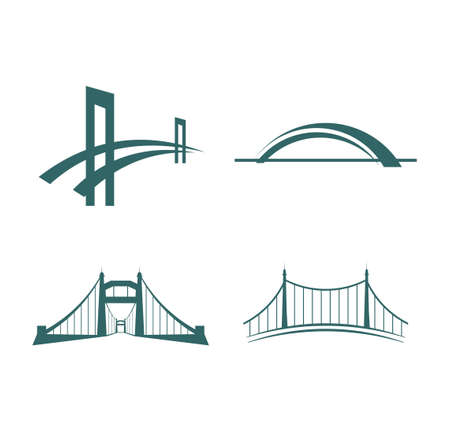 pont avec modèle de logo d'icône de vecteur de suspension de tour