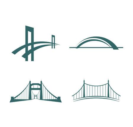 Puente con plantilla de logotipo de icono de vector de suspensión de torre