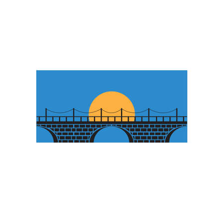 brick bridge with the moon behind vector icon logo design or illustration template
