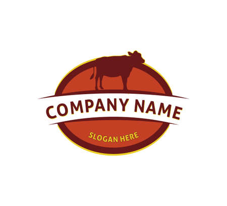 cow agriculture farm dairy product icon vector logo design template for a butchery beef shop Ilustração