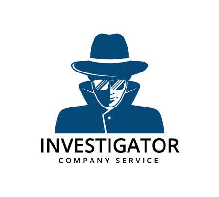 detective with glasses investigation service vector icon logo design template Logo