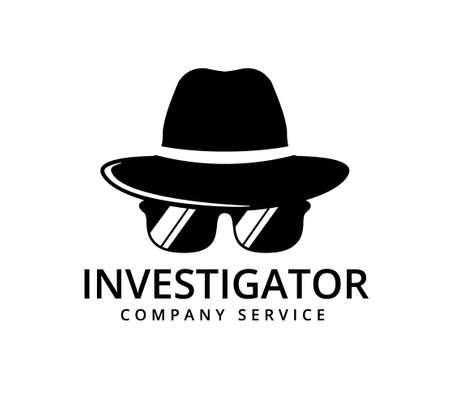 detective with glasses investigation service vector icon logo design template