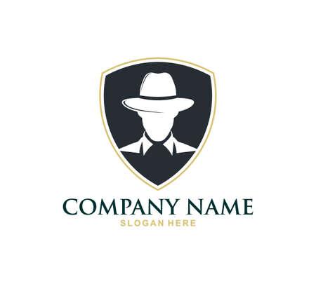 modèle de conception de logo d'icône de vecteur de service d'enquête de détective