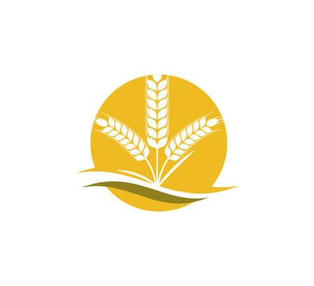 ortica di grano all'interno del modello di progettazione del logo dell'icona del vettore del cerchio