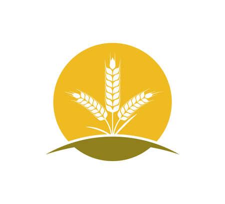 wheat nettle inside circle vector icon logo design template