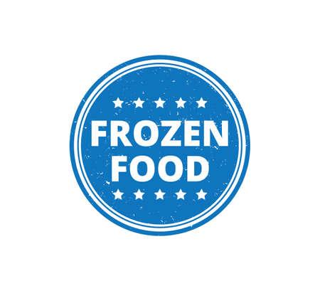 round frozen food product label grunge textured vector design template