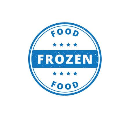 circle frozen food product label grunge textured vector design template Ilustração