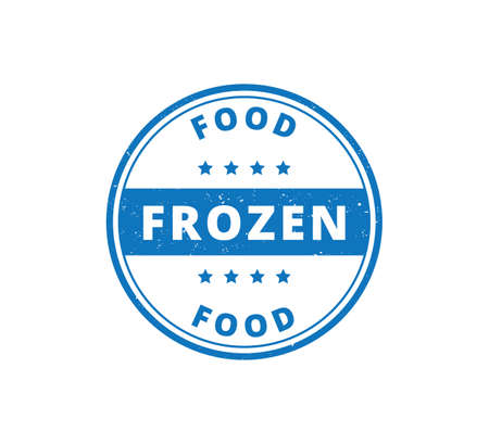 circle frozen food product label grunge textured vector design template Illustration