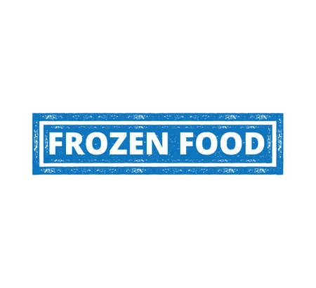 square frozen food product label grunge textured vector design template Illustration