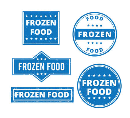 set of frozen food product label grunge textured vector design template