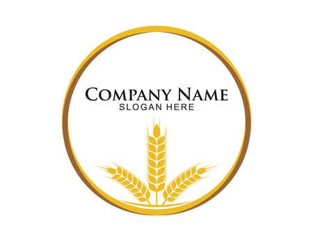 wheat nettle grain in circle shape vector logo design template
