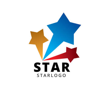 three star blue red yellow burst vector icon logo design template isolated on white background Illustration