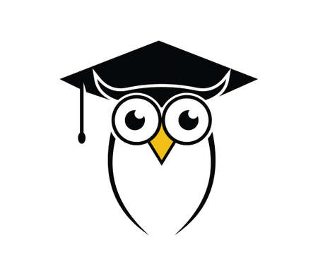 cute owl bird smart education school vector logo design illustration 일러스트