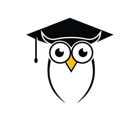 cute owl bird smart education school vector logo design illustration Illustration