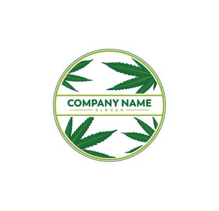 cannabis marijuana leaf silhouette illustration vector logo design template