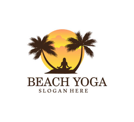sunset beach yoga meditation theme balance symbol vector logo design illustration template