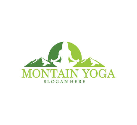 green mountain yoga meditation balance symbol vector logo design illustration template Ilustração