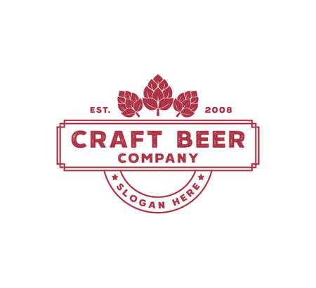 craft beer brewing company vector logo design template concept on white background
