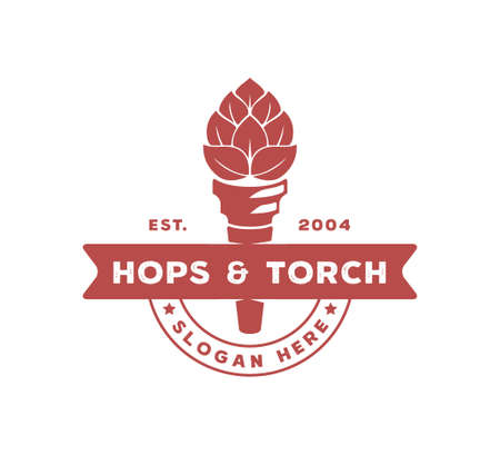 hops and torch vector logo design template concept with ribbon banner for beer brewing company on white background
