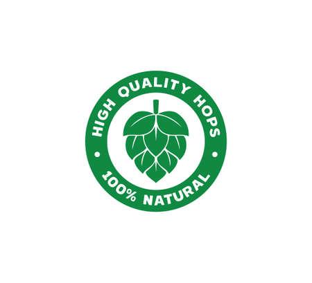 100 percent natural green hops fruit vector logo stamp label design template on white background