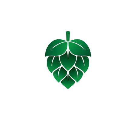 green hops fruit vector icon logo design template on white background Illustration
