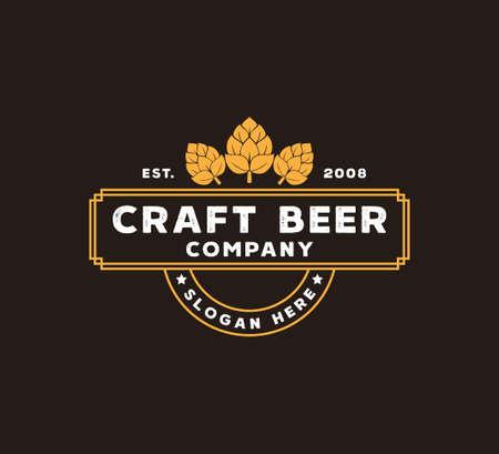 craft beer brewing company vector logo design template concept on brown background Ilustração