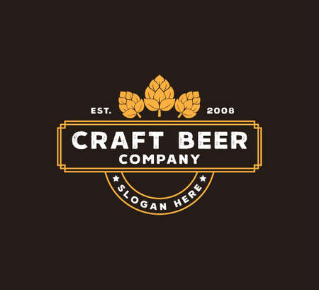 craft beer brewing company vector logo design template concept on brown background Illustration