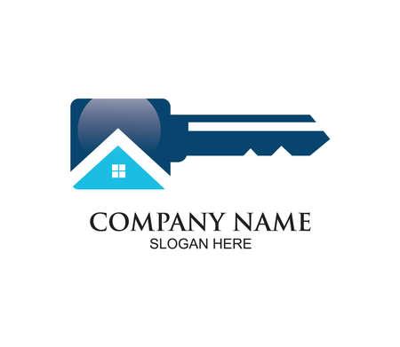 home or real estate property vector logo design concept template inspiration in key shape Illustration