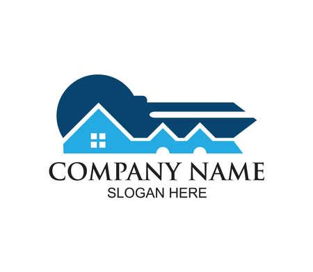 home or real estate property vector logo design concept template inspiration in key shape Ilustração