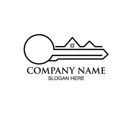 home or real estate property vector logo design concept template inspiration in key line shape Ilustração