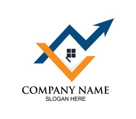 home or real estate property vector logo design concept template inspiration with going up arrow Ilustração