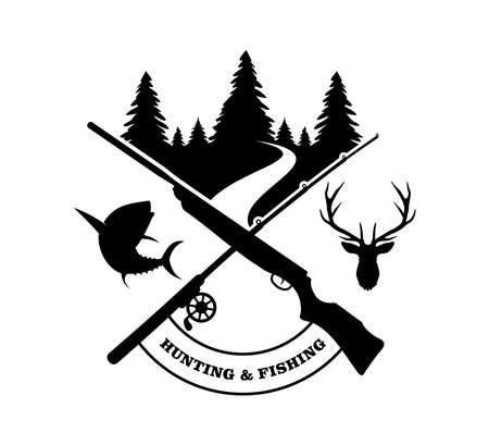 crossed rifle with fishing rod logo design inspiration template for hunting extreme sport