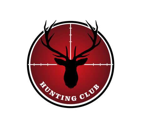 red rifle monocular with deer head silhouette as a target logo design inspiration for outdoor hunting sport