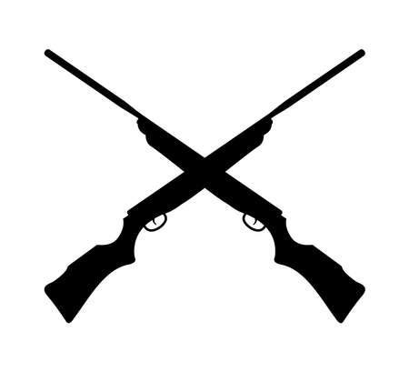 modello di progettazione del logo della silhouette della pistola del fucile incrociato ispirazione per la caccia all'aperto sport estremo
