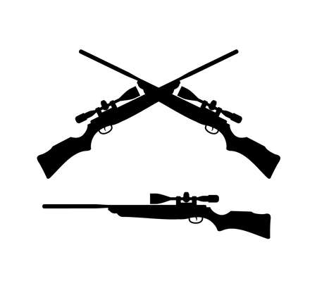 crossed rifle gun silhouette logo design template inspiration for hunting outdoor extreme sport