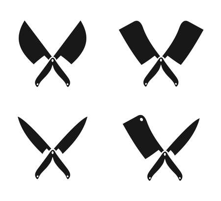 crossed butchery and chef knife silhouette logo design inspiration template