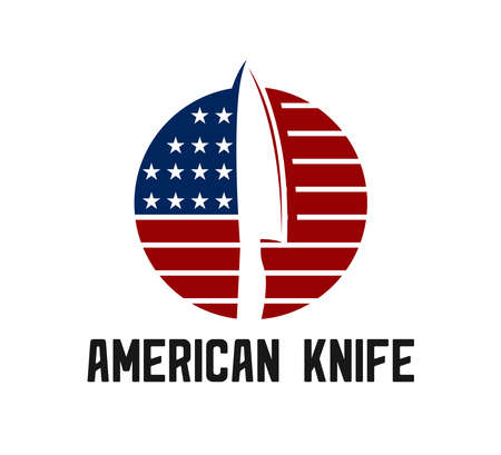 chef knife logo design template inspiration with american flag in the background