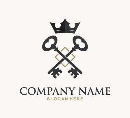 king crown key property home real estate vector logo design template Ilustração