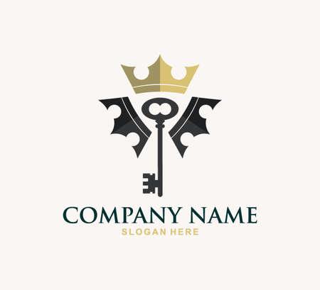 king crown key property home real estate vector logo design template Illustration
