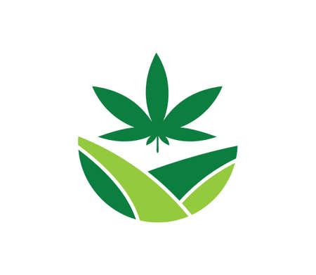 green cannabis hemp leaf vector logo template for medical agriculture company