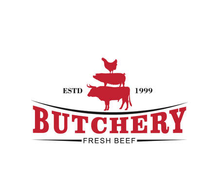 butcher meat shop product logo template with cow, pig, hen silhouette Illustration