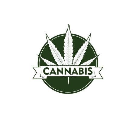 cannabis hemp leaf vector logo emblem template in circle with ribbon banner Ilustração