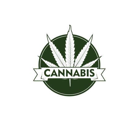 cannabis hemp leaf vector logo emblem template in circle with ribbon banner Illustration