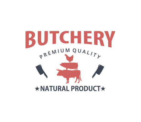 butcher meat shop product logo template with crossed cleaver, cow, pig, hen silhouette
