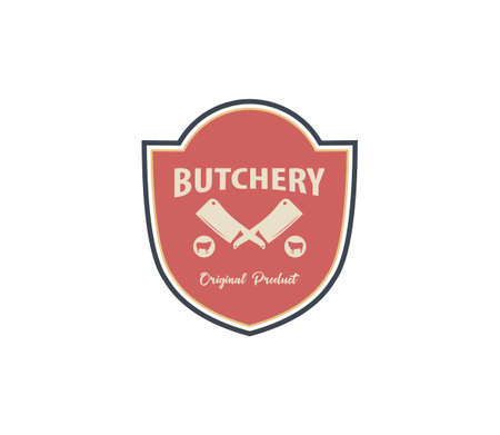 butcher meat shop product logo template with crossed cleaver and cow silhouette Illustration