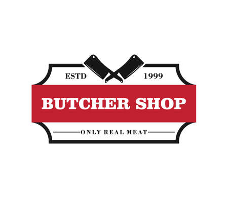 butcher meat shop product logo template with crossed cleaver silhouette Ilustração