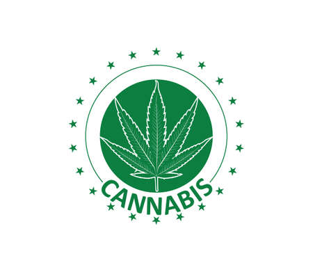 green cannabis hemp leaf vector logo template with stars in circle
