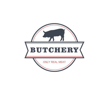 butchery only real meat shop product logo template with pork silhouette Illustration